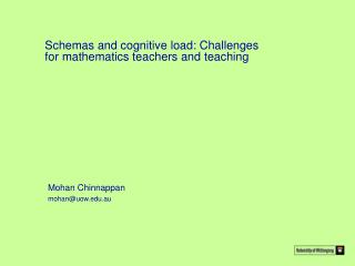 Schemas and cognitive load: Challenges for mathematics teachers and teaching