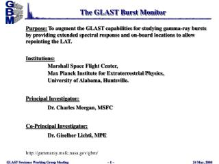 The GLAST Burst Monitor