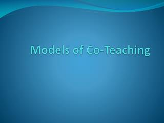 Models of Co-Teaching