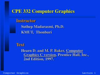 CPE 332 Computer Graphics