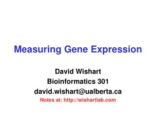 Measuring Gene Expression