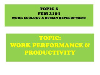 TOPIC 6 FEM  3104 WORK ECOLOGY & HUMAN DEVELOPMENT