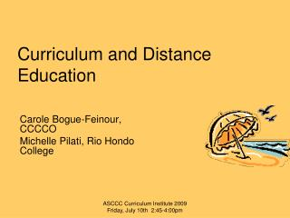 Curriculum and Distance Education