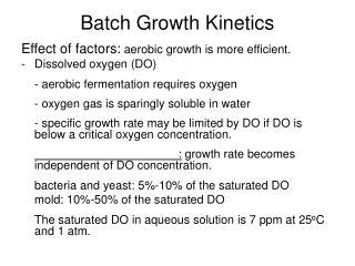 Batch Growth Kinetics