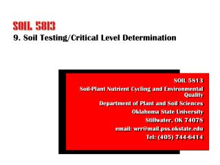 9. Soil Testing/Critical Level Determination