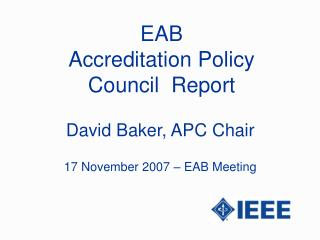 EAB Accreditation Policy Council  Report