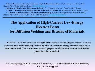 The Application of High-Current Low-Energy  Electron Beam