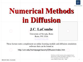Numerical Methods in Diffusion
