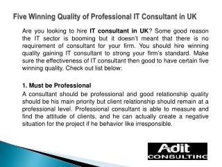 Five Winning Quality of Professional IT Consultant in UK