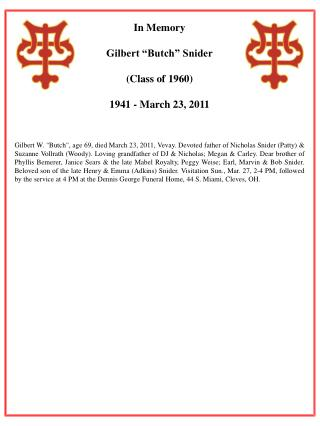 """In Memory Gilbert """"Butch"""" Snider (Class of 1960) 1941 - March 23, 2011"""