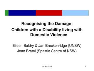 Recognising the Damage: Children with a Disability living with Domestic Violence
