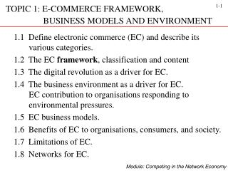 TOPIC 1: E-COMMERCE FRAMEWORK,                         BUSINESS MODELS AND ENVIRONMENT
