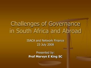 Challenges of Governance in South Africa and Abroad