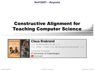 Constructive Alignment for  Teaching Computer Science