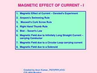MAGNETIC EFFECT OF CURRENT - I