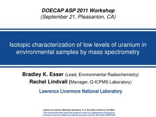 Isotopic characterization of low levels of uranium in environmental samples by mass spectrometry