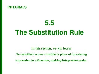 5.5 The Substitution Rule