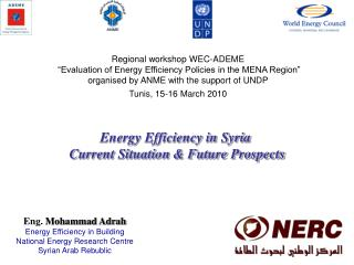 Eng.  Mohammad Adrah Energy Efficiency in Building National Energy Research Centre Syrian Arab Rebublic