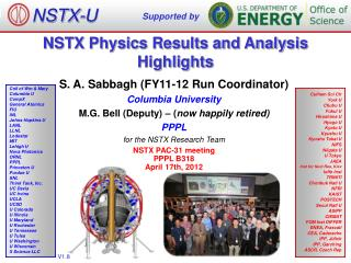 NSTX Physics Results and Analysis Highlights