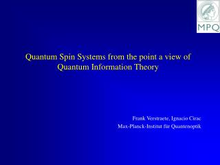 Quantum Spin Systems from the point a view of Quantum Information Theory