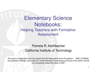 Elementary Science Notebooks: Helping Teachers with Formative Assessment