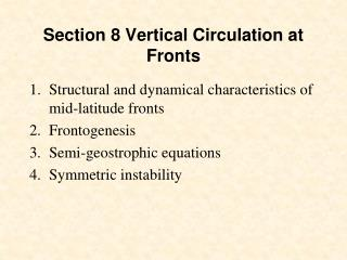 Section 8 Vertical Circulation at Fronts