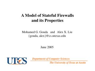 A Model of Stateful Firewalls  and its Properties
