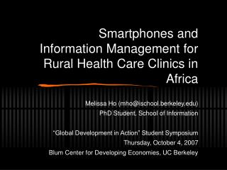 Smartphones and Information Management for Rural Health Care Clinics in Africa