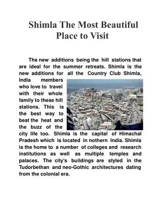 Shimla The Most Beautiful Place to Visit