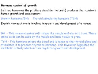 Hormone control of growth