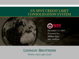 FX SPOT CREDIT LIMIT CONSOLIDATION SYSTEM