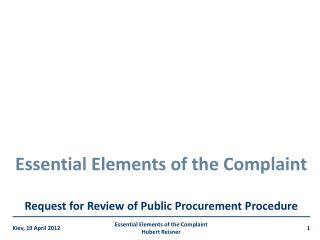Essential Elements of the Complaint