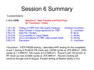 Session 6 Summary