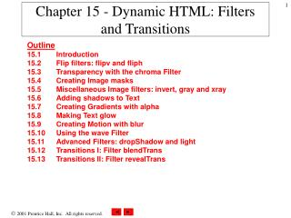 Chapter 15 - Dynamic HTML: Filters and Transitions