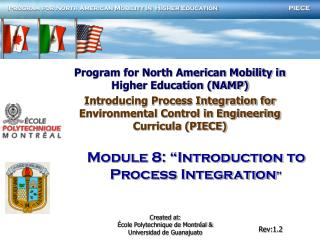 "Module 8: ""Introduction to  Process Integration """