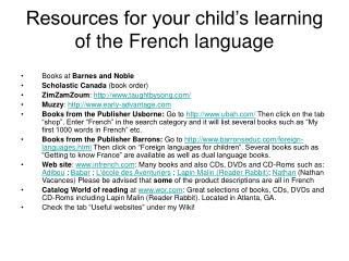 Resources for your child's learning of the French language