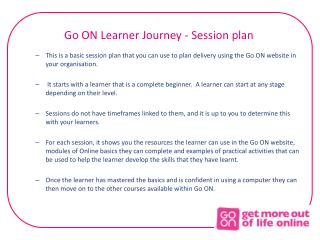 Go ON Learner Journey - Session plan