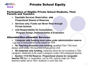 Participation of Eligible Private School Students, Their Parents and Teachers