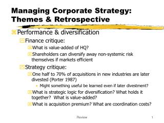 Managing Corporate Strategy:  Themes & Retrospective