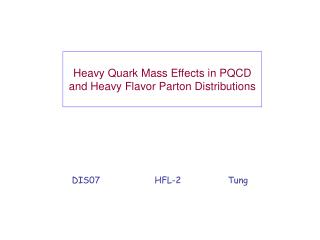 Heavy Quark Mass Effects in PQCD and Heavy Flavor Parton Distributions