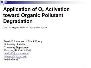 Application of O 2  Activation toward Organic Pollutant Degradation