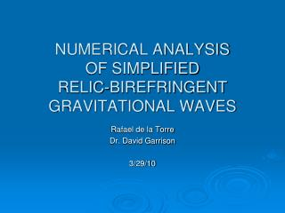 NUMERICAL ANALYSIS  OF SIMPLIFIED  RELIC-BIREFRINGENT GRAVITATIONAL WAVES