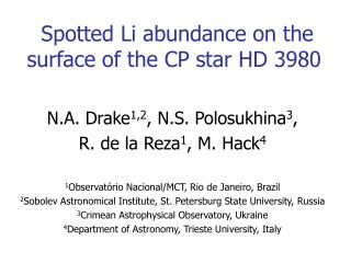 Spotted Li abundance on the surface of the CP star HD 3980
