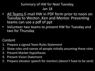 Summary of HW for Next Tuesday, Jan 18