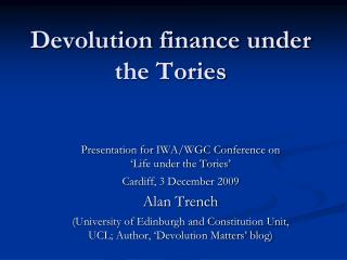 Devolution finance under the Tories