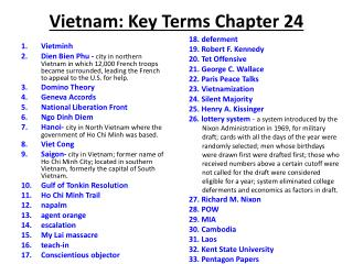 Vietnam: Key Terms Chapter 24