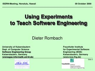Using Experiments to Teach Software Engineering