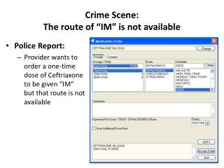 "Crime Scene: The route of ""IM"" is not available"