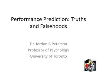 Performance Prediction: Truths and Falsehoods