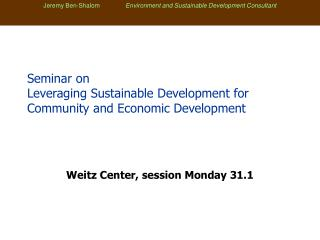 Seminar on Leveraging Sustainable Development for Community and Economic Development